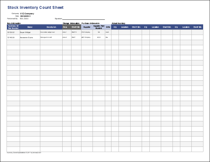 how to make stock inventory in excel sample