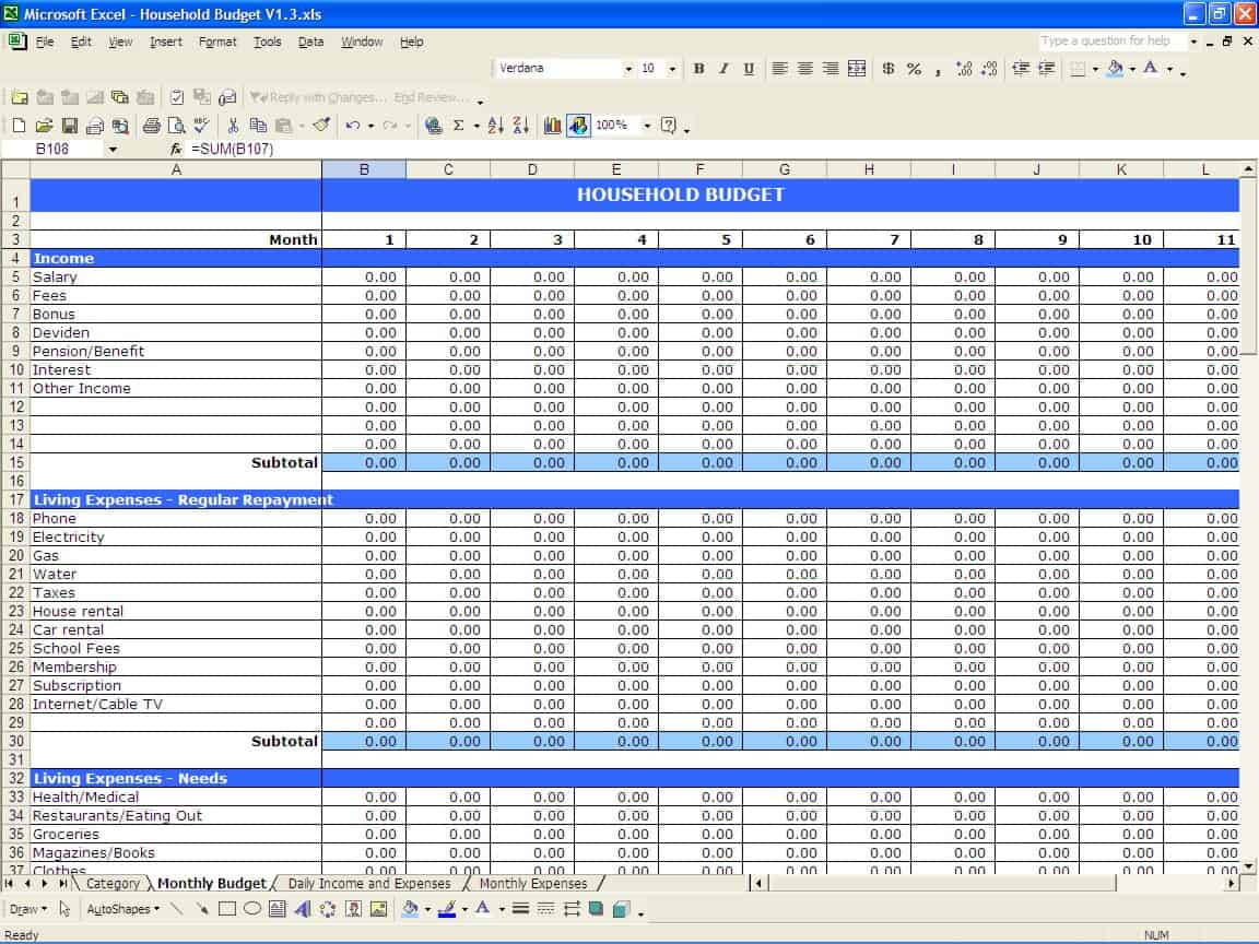 income and expense tracking spreadsheet template sample