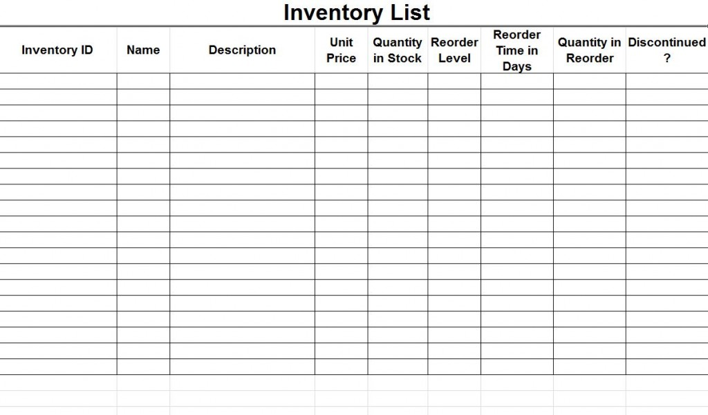 inventory control template with count sheet sample