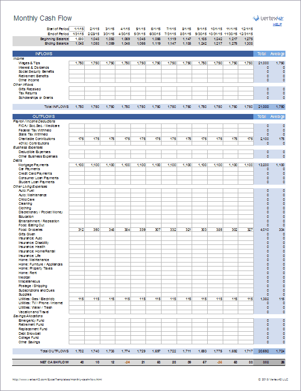 monthly cash flow template sample