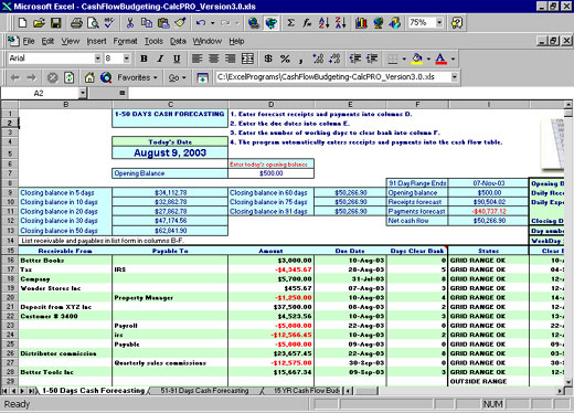personal cash flow template excel sample
