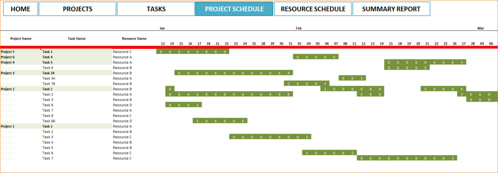 project schedule template excel sample