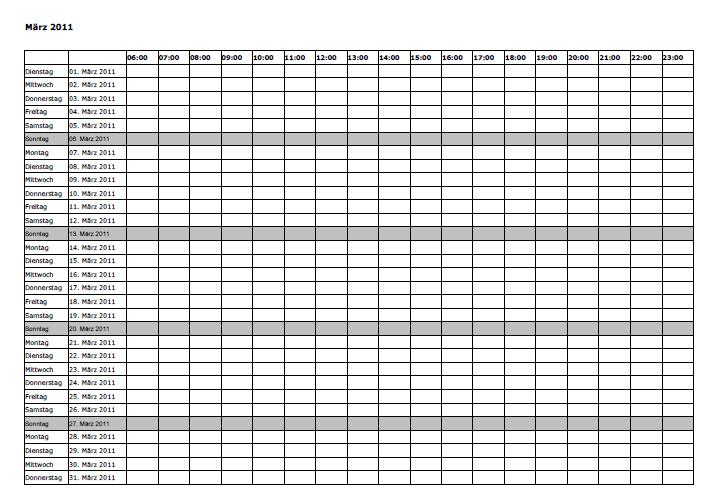 schedule worksheet template