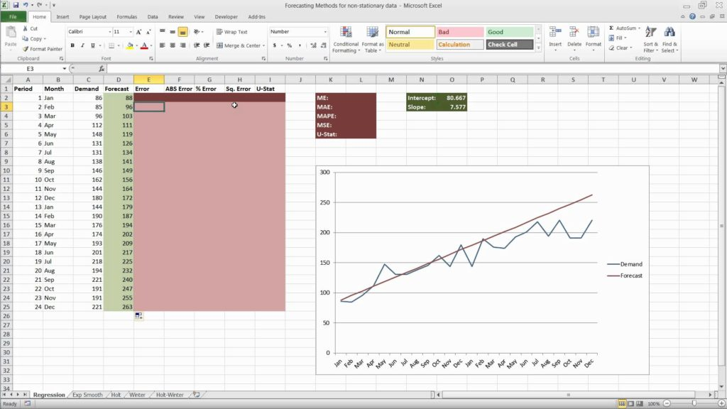time series forecasting in excel 2017