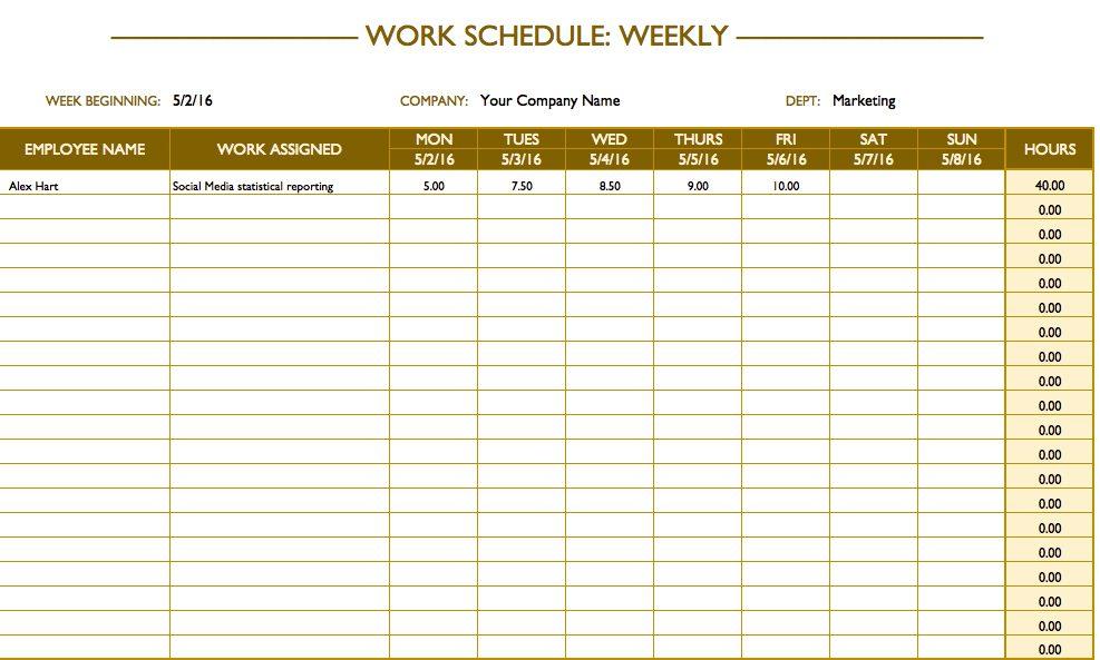 weekly schedule template word sample