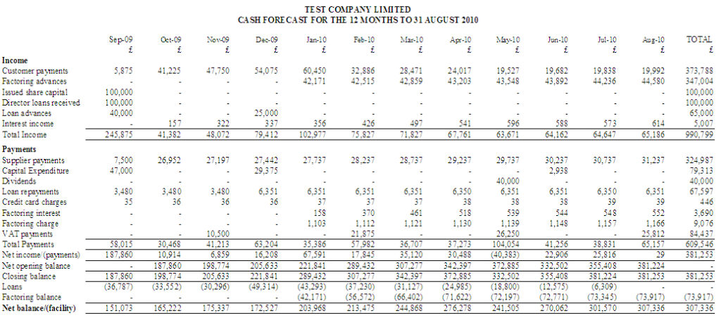 3 year cash flow projection template