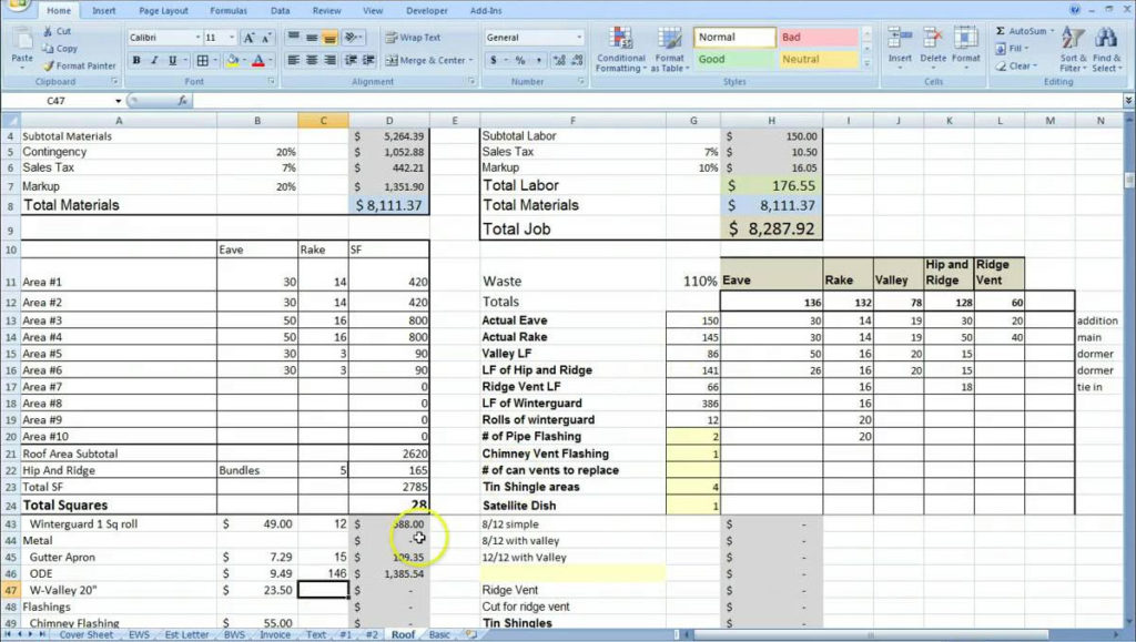 building estimate format in pdf sample