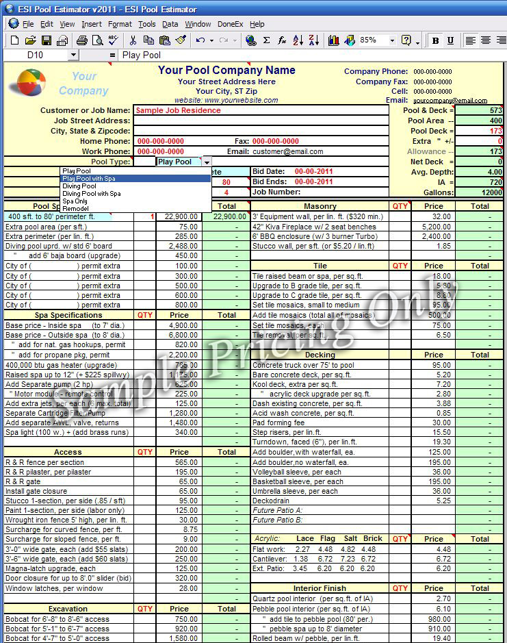 building estimate format in pdf