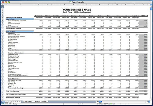 business plan template excel sample 1
