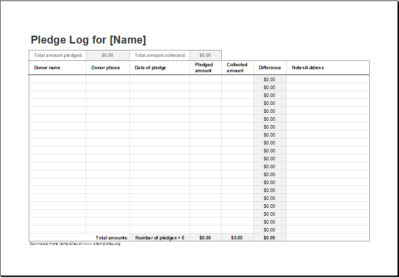 charitable donation tracker excel sample