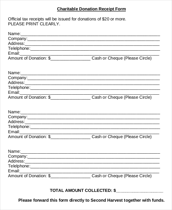 clothing donation receipt template