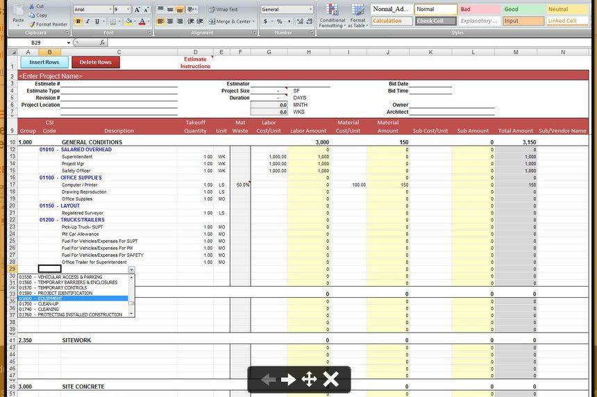 construction cost estimate template excel sample 1