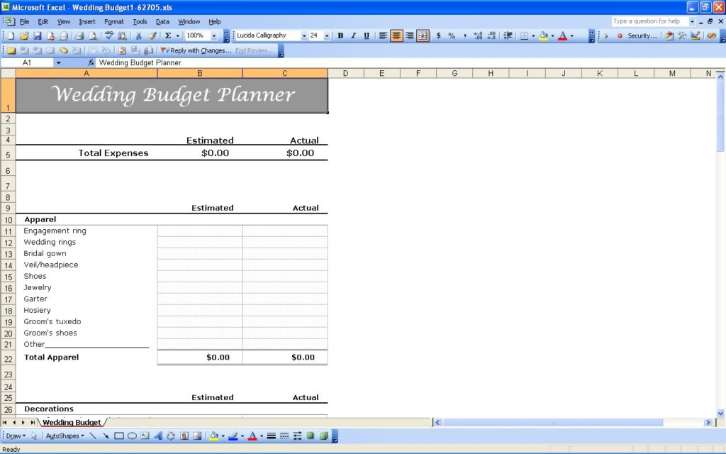 detailed wedding budget template