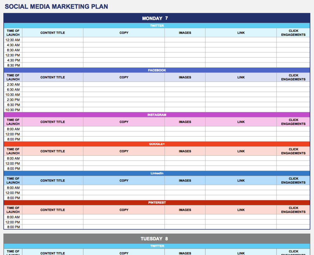 digital marketing plan template excel sample