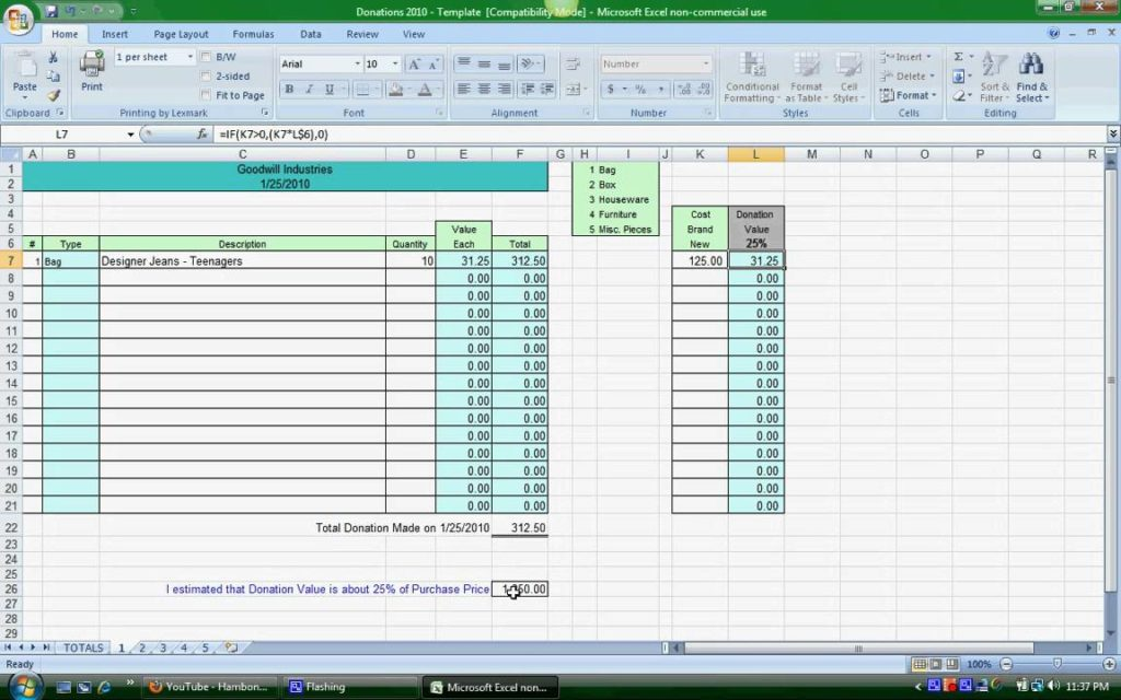 excel donation list template