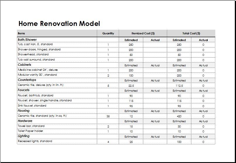 home improvement spreadsheet sample