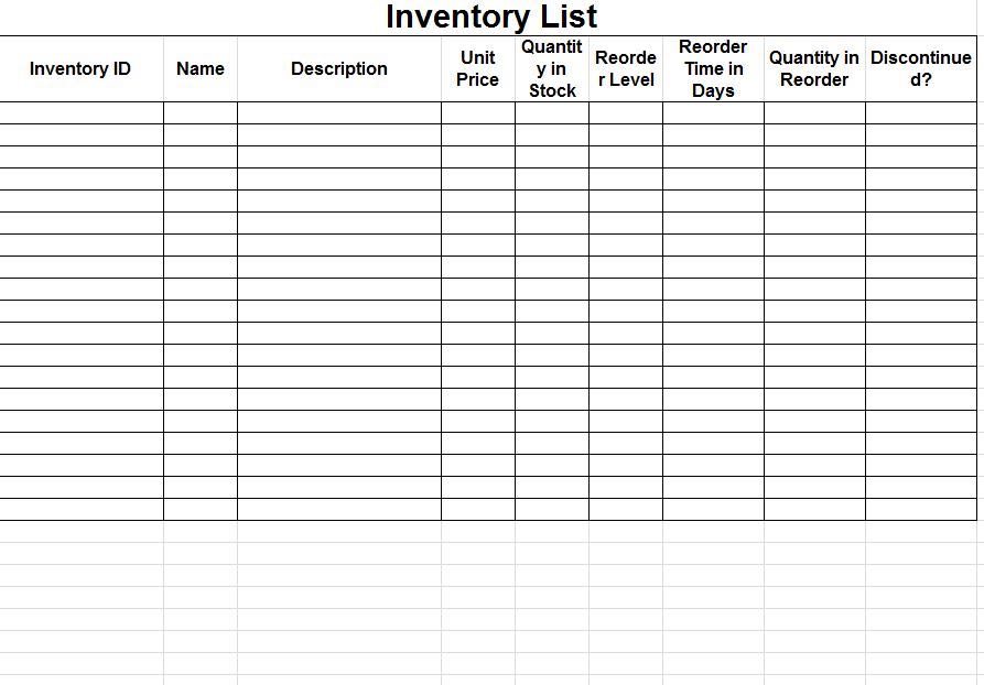 how to make stock inventory in excel sample 1