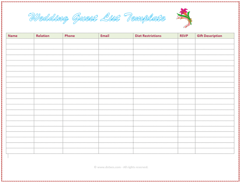 party guest list template excel free sample