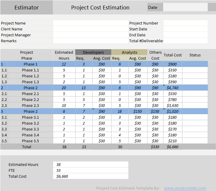 project cost estimation template in excel sample