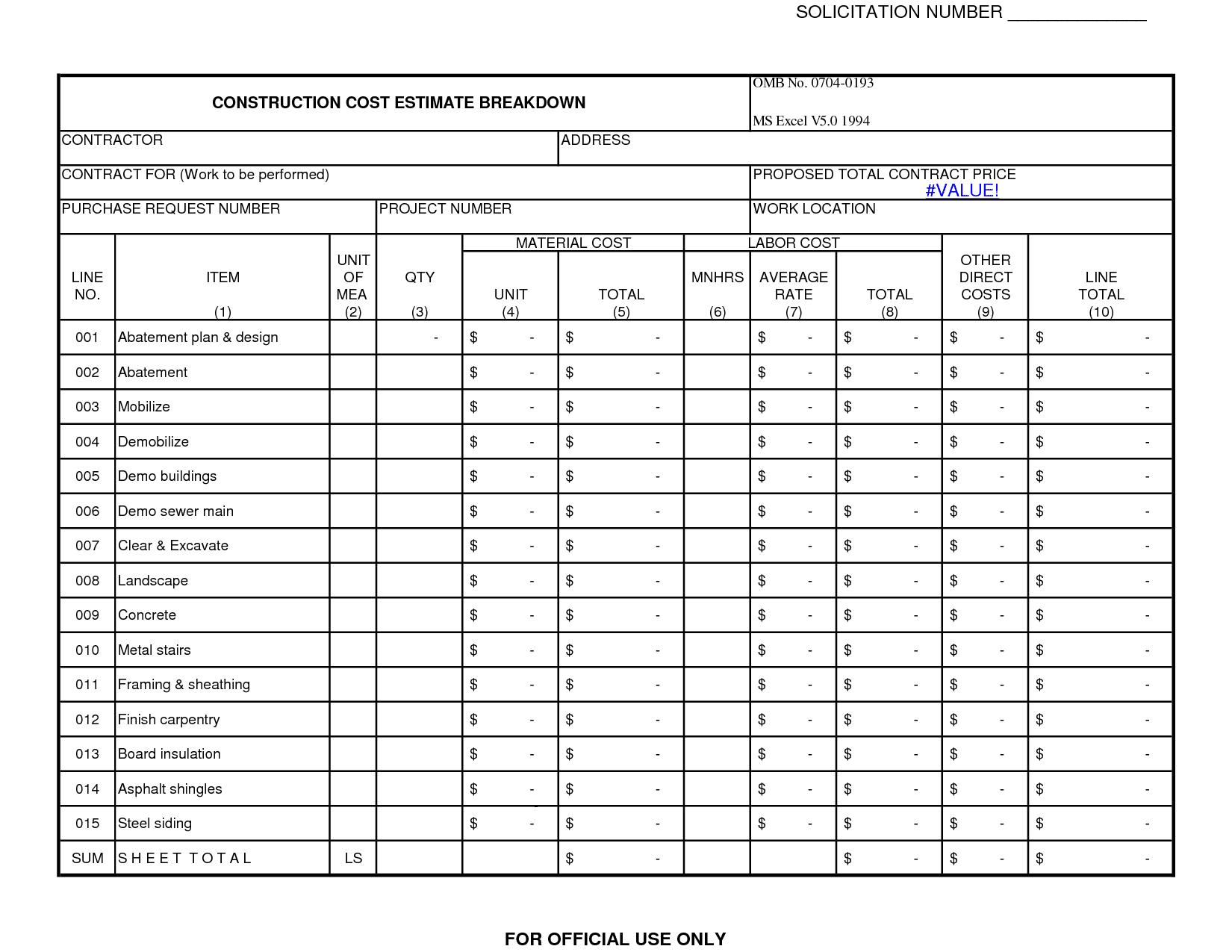 remodeling cost estimator excel sample 1
