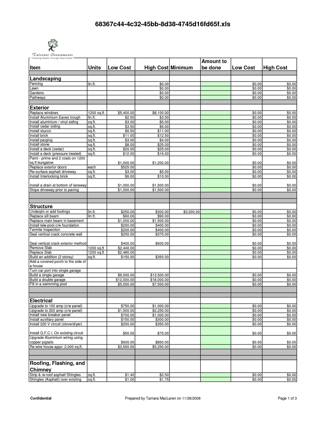 renovation budget planner app sample