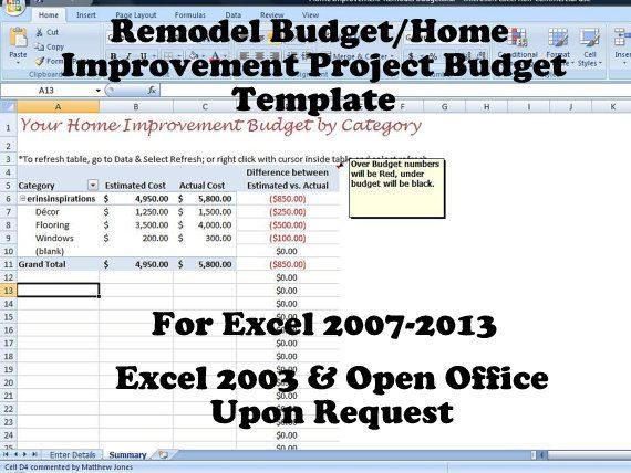 renovation budget tracker sample