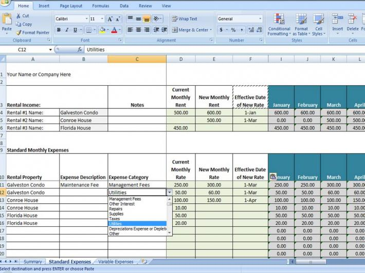 rent collection spreadsheet template