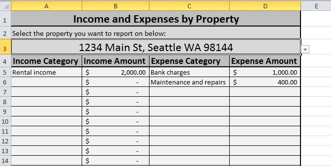 rental property analysis spreadsheet sample