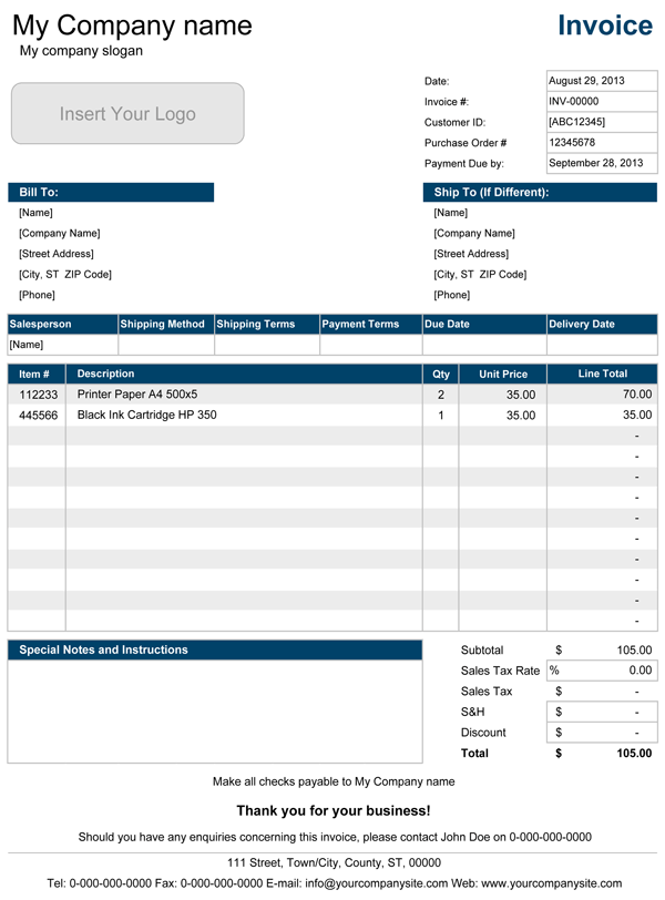 simple invoice template excel sample