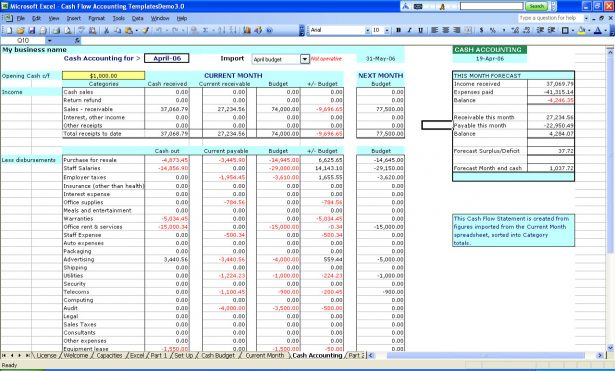 small business spreadsheet for income and expenses sample 1