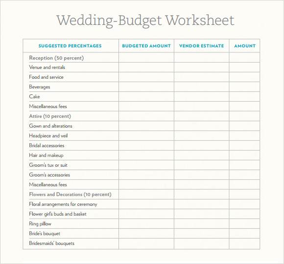 wedding budget estimator sample