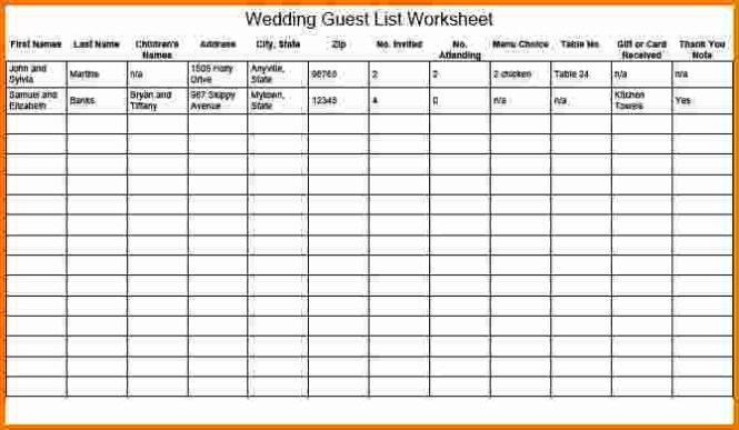 wedding guest list manager excel sample