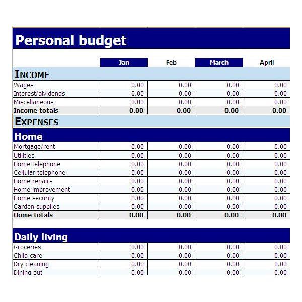 budget worksheet pdf