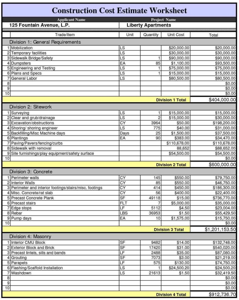 Free Construction Estimate Template Pdf
