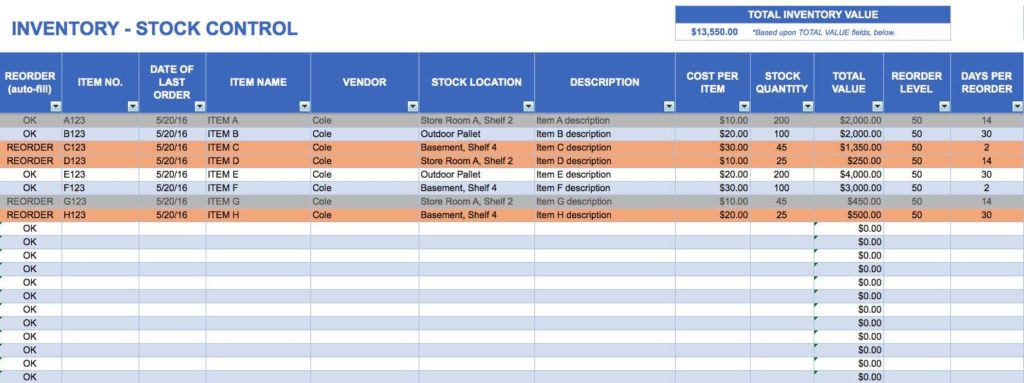 Free Inventory Control Spreadsheet
