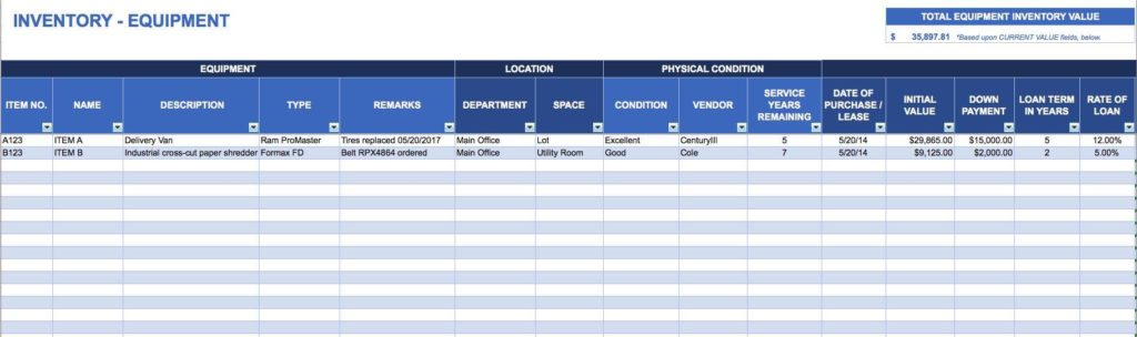 Inventory Control Sheets Excel
