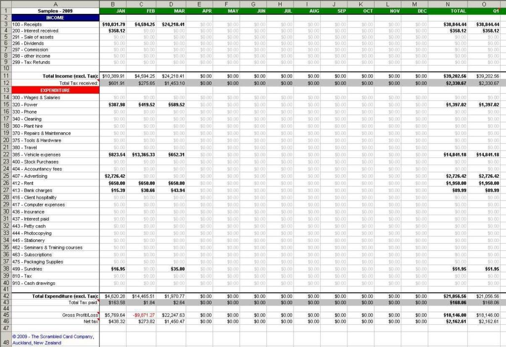 Tracking Income and Expenses Spreadsheet