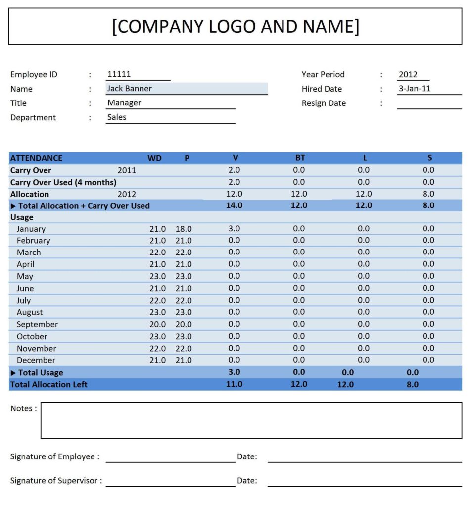 Employee Attendance Sheet Pdf and Employee Attendance Sheet Software Free