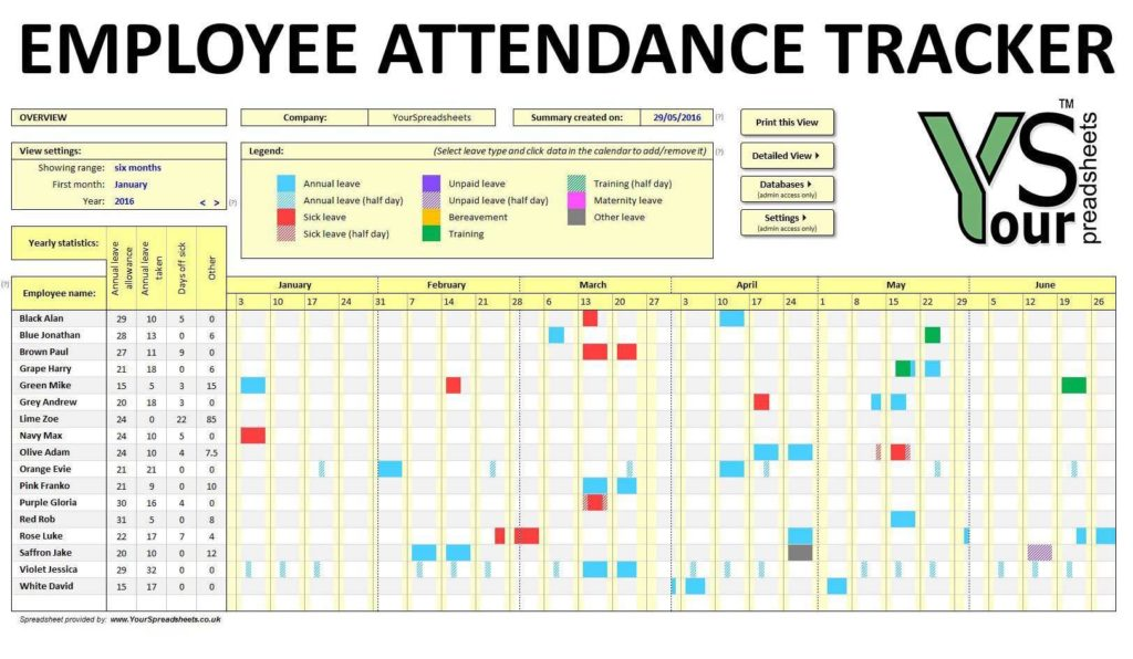 Employee Attendance Sheet with OT Calculation and Employee Attendance Sheet in Excel Software