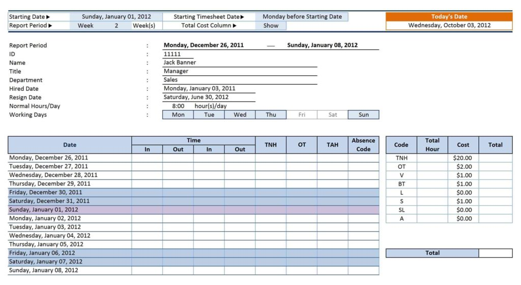 Employee Attendance Tracking Template and Employee Attendance Sheet with Time