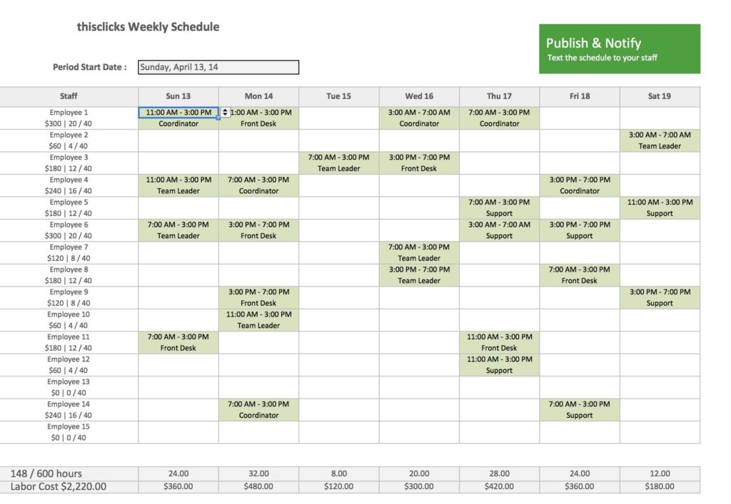 Employee Hour Tracking Template and Monthly Employee Schedule Spreadsheet