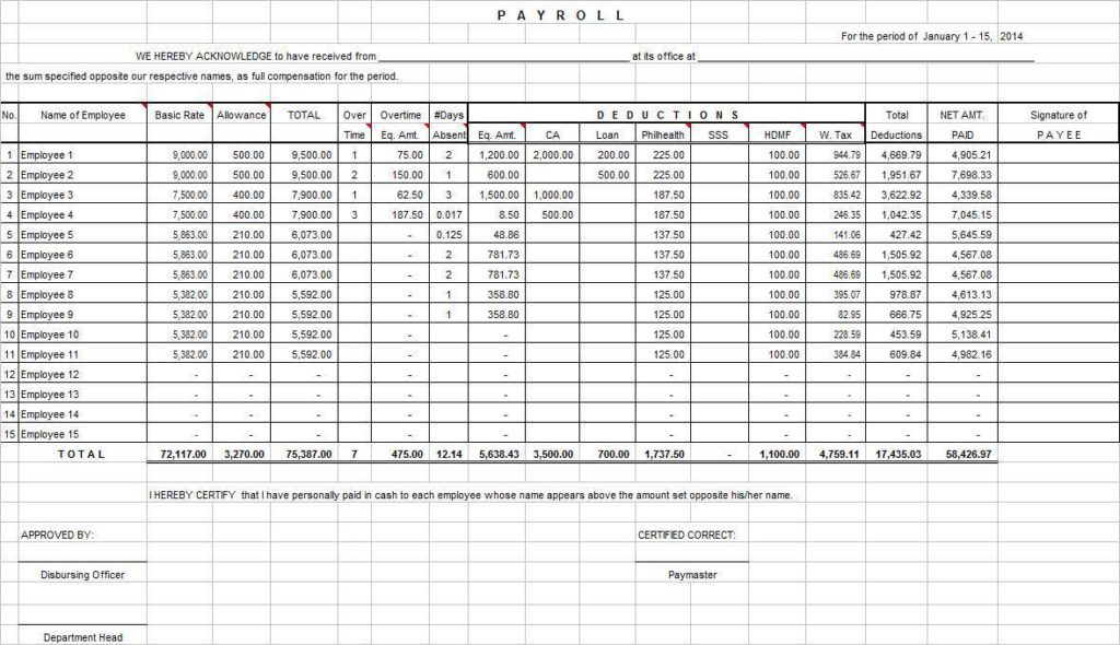 Excel Sheet for Payroll and Excel Templates for Payroll for Free
