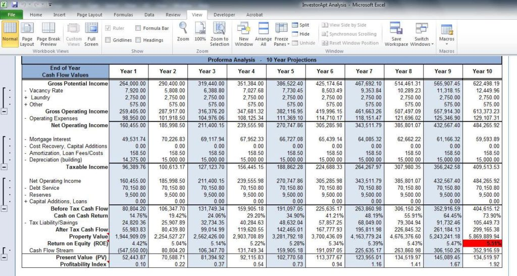 Excel Spreadsheet for Real Estate Investment and Real Estate Discounted Cash Flow Spreadsheet