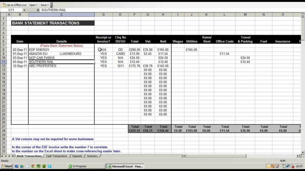 Excel Template for Business Income and Expenses