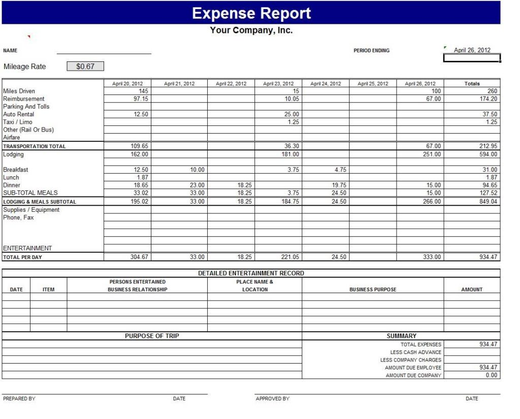 Expense Sheets for Small Business and Excel Spreadsheets for Small Business Accounting