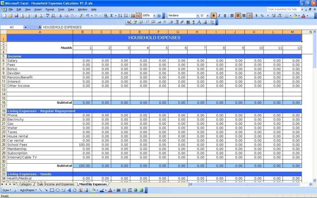 Expense Tracking Spreadsheet Excel and Family Expense Tracking Spreadsheet