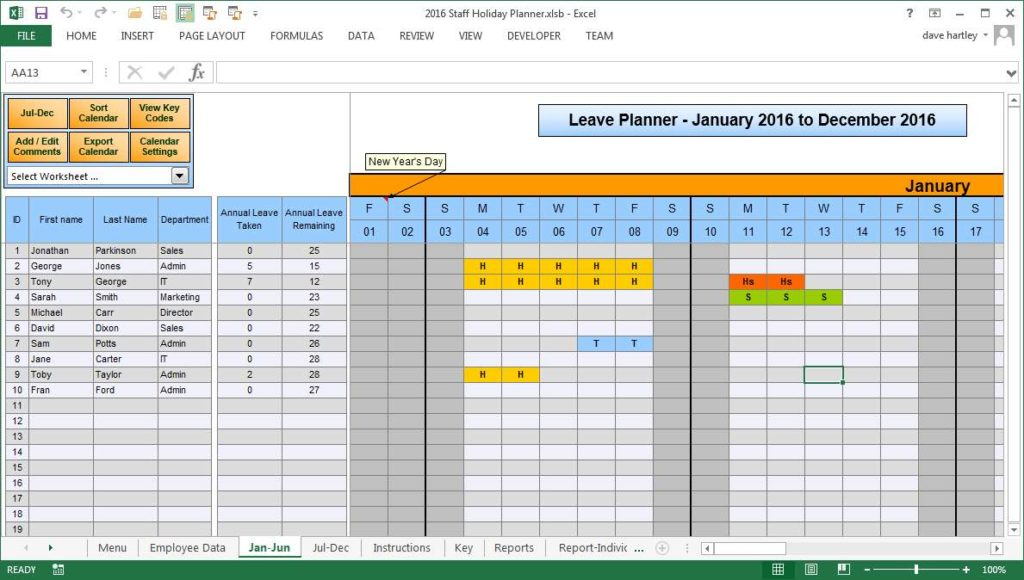 Paid Time Off Excel Spreadsheet and Excel Spreadsheet to Track Hours