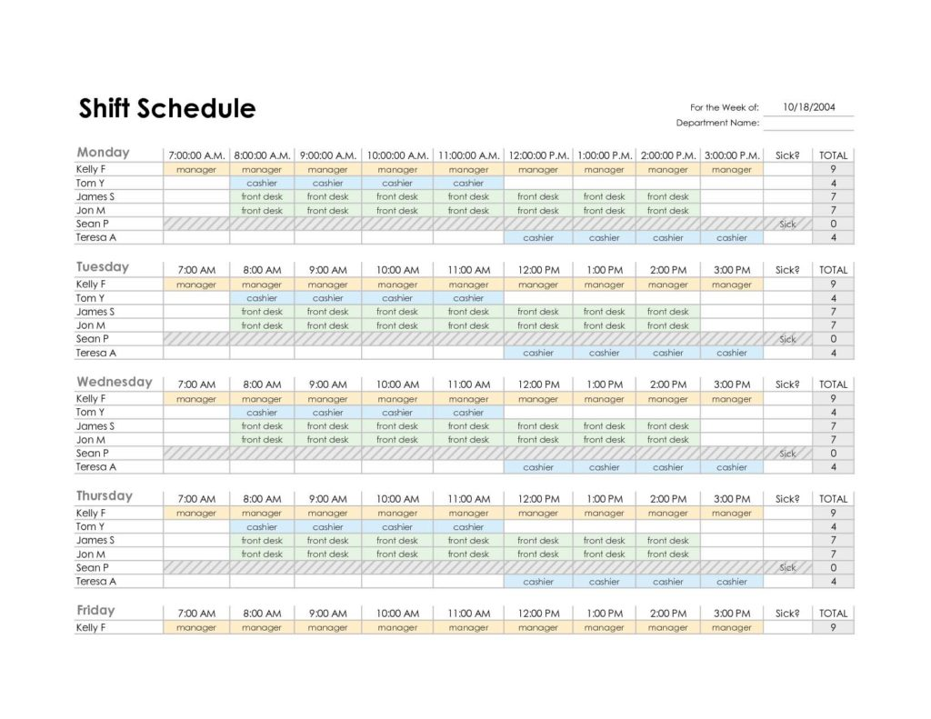 Work Hours Spreadsheet Templates and Employee Schedule Templates Excel