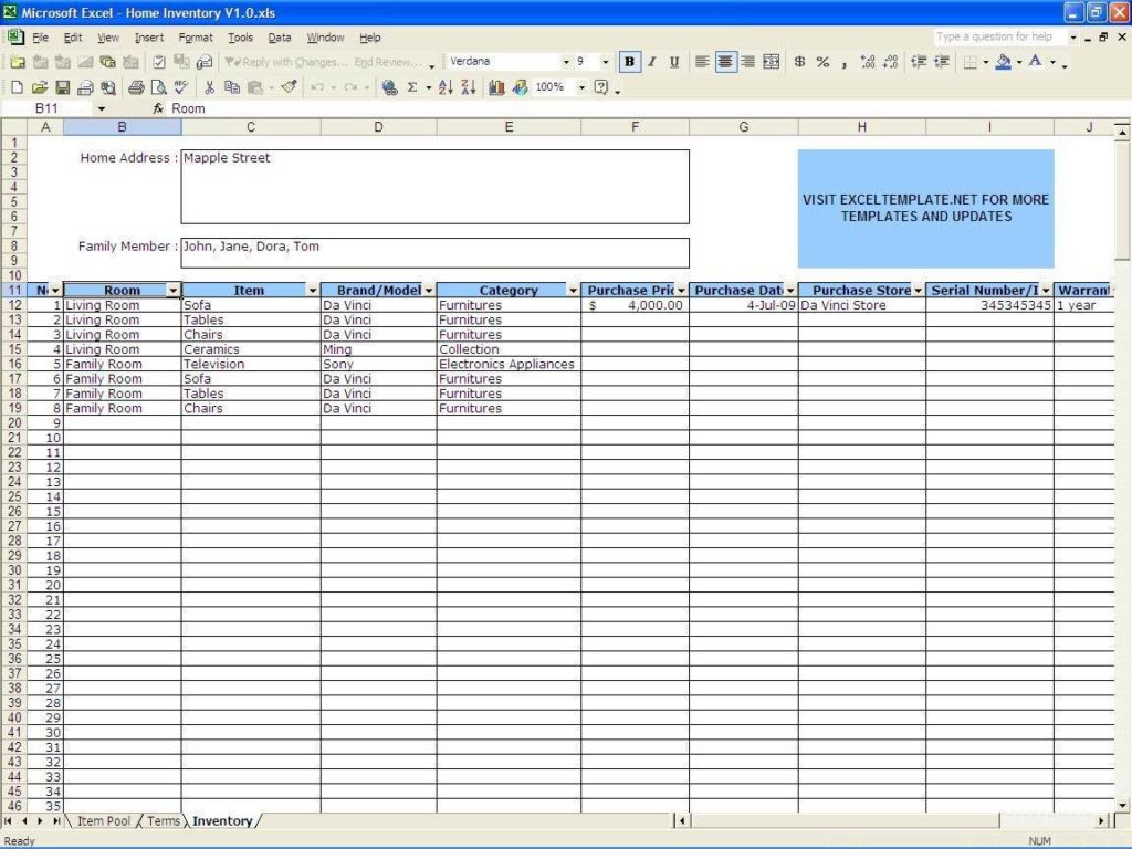 Equipment Maintenance Tracking Spreadsheet and Excel Inventory Management Template