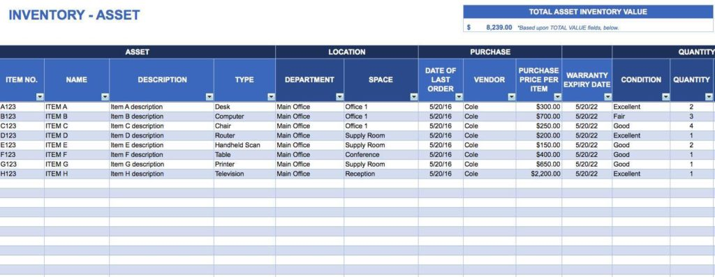 Heavy Equipment Tracking Spreadsheet and Asset Tracking Excel Spreadsheet Template